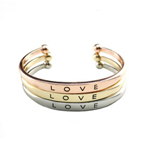Occident Fashion Jewelry Brand Bracelets Love Letter Gold/Silver/Rose Gold Bangles Hot Sale