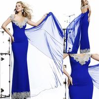 Sexy Blingbling Royal Blue V Neck Cap Sleeve Crystal Beaded Mermaid Evening Dress Vestidos Longos De Festas 2014 E271