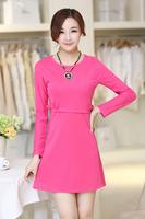 drop shipping long sleeve slim fashion dress women bottoming dress for autumn rose orange S M L XL