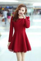 2014 new arrival spliced lace solid women thick fashion winter dress long sleeve wine darkblue M-XXL