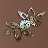 Free shipping 2014 silver Big Leavesr wall clock modern design luxury mirror wall clock 3D crystal mirror wall clocks