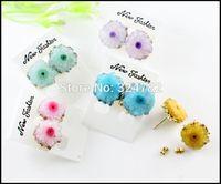 5 Pair Nature Druzy Agate stone Earrings, Drusy Gem stone Crystal Quartz Stud Earrings,Jewelry findings