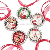 20pcs Frozen - Christmas Party Favor - Frozen Christmas Red Ribbon necklace - Bottlecap Necklace Princess Elsa and Anna