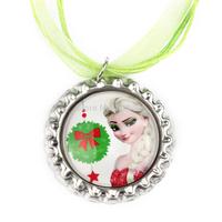 20pcs Frozen Christmas Necklace, Merry Christmas Elsa Necklace, Ribbon Necklace, Bottle Cap Necklace
