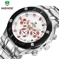 New 2014 WEIDE men watches fashion quartz watch brand 30m waterproof relogio stainless steel Japan movement male clock
