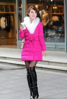 Free Shipping 2014 Fashion Noble fur collar Slim Down Jacket  FT1703