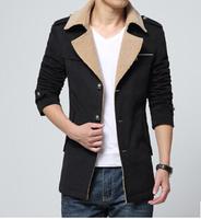 Free shipping 2015 men Autumn winters is Single-breasted recreational men woolen cloth coat dust coat 3 colors Plus size L-XXXL