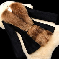 2014 slim rabbit fur coat with big raccoon fur collar fur leather coat medium-long M to 3XLwomen black fur coat