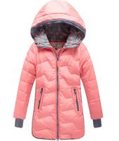 Retail 1 Pcs Children Medium-Long Casual Duck Down Coat Outwear Baby Girls Winter Coat Jackets For Girls With A Hood QQ125