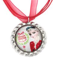 20pcs Frozen Christmas Necklace, Princess Elsa Necklace, Christmas Red Ribbon Bottle Cap Necklace