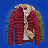 New Fashion Brand Slim Men Winter Warm Lambs Wool Cotton Jacket 2014 Man Outdoors Columbia Parkas Jackets and Coats Plus Size