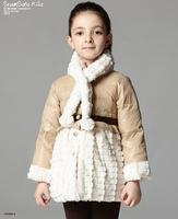 Retail 1 Pcs Children Medium-Long Duck Down Faux Fur Coat Outwear Baby Girls Winter Warm Coat Jackets For Girls