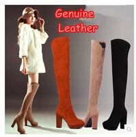Designer Genuine Leather Sexy Ladies Knee High Motorcycle Boots Fashion Winter Warm Platform Comfortable Women High Heels Shoes