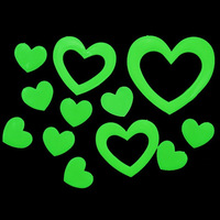 Lovely Twinkling Love Heart Glow in the Dark Luminous Fluorescent Plastic Home Wall Stickers   #gib