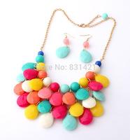 2014 Fashion Korean jewelry set 2 pic necklace + Earrings Acrylic Zincalloy Necklaces & Pendants New Women costume jewelry set