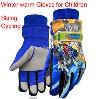 2014 Brand Korean Winter Warm Ski Gloves for Children 6-14 year-old Cute Cartoon Waterproof cycling Christmas Kids Skiing Gloves