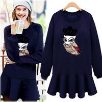 Fashion  2014 fashion embroidery owl sweatshirt long-sleeve slim waist thickening one-piece dress female