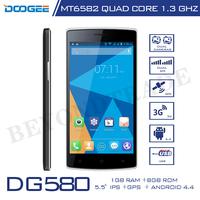 Original Doogee DG580 Android4.4 Smartphone MTK6582 Quad Core 1G RAM 8G ROM 960*540 IPS Touch Screen BT4.0 GPS KitKat Phone