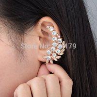 Hot Fashion New Retro Crystal Leaf Flower Ear Cuff Earring Wrap Clip On For Left Ear Earrings for Women