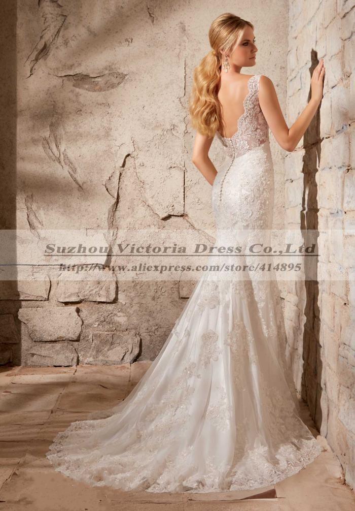Vestidos De Noiva Manga Longa 2014 Sexy Backless Wedding Dress Lace Wedding Dress Country Western Wedding