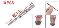 200 Pcs T8 Gray 5mm x 60mm x 4mm x 2mm Magnetic Torx Screwdriver Bits Metal