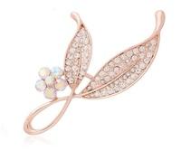 Free shipping Women Jewelry Christmas Gift Elegant rhinestone flower leaf Brooch for Wedding Bridal Top Quality Brooch BR020