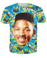 2014 New high quality Men's Short Sleeve Cotton T shirt Fashion Men/Women Will Smith mobile phone Print 3D t shirt Free shipping