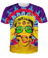 2014 New high quality Men's Short Sleeve Cotton T shirt Fashion Men/Women Terrorist zombie Miley eye Print 3D t shirt
