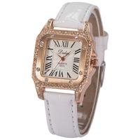 Dalas Brand Rose Gold Case Crystal Rhinestone Wristwatches Casual Style Relogio Feminino Leather Strap Watches Women Dress Watch