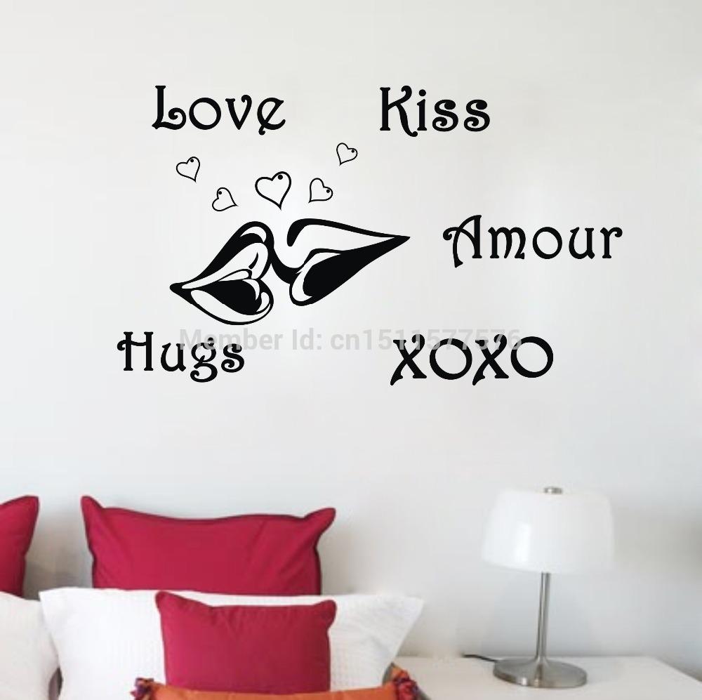 Love Kiss XOXO Fine Quality Vinyl Black Wall Sticker Love Quotes Living Room Bedroom Quotes Decor 92x56cm(China (Mainland))