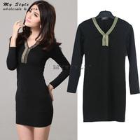 Korean 2014 New Slim Thin Tight Bodycon Sexy Women's Dress Elegant Women Dresses Autumn Winter Casual Work Wear Plus Size 2096