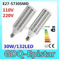 Free shipping 2x 30W 132LED 5730 SMD E27 E14 B22 Corn Bulb Light Maize Lamp LED Light Bulb Lamp LED Lighting Warm/Cool White