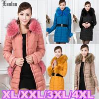 Lanluu 2014 New Mutil-color Large Fur Hooded Winter Long Parkas Womens Plus Size Down Coats SQ1050