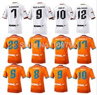 2015 Valencia white orange Jersey soccer 14 15 Valencia PACO ALCACER A.NEGREDO ALCACER MUSTAFI PAREJO jersey shirt Thai quality