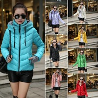 2014 New Fashion Winter Autumn Slim Coat Stand Collar Gloves Warm Thick Hooded Women Parkas Plus Size