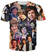 2014 New arrival high quality Men's Short Sleeve Cotton T shirt Fashion Men/Women One Direction harry styles Print 3D t shirt