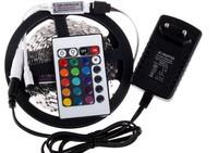RGB LED Strip 300Leds/5M 3528 SMD + 24Key Mini Remote Controller + 12V 2A Power Supply Flexible LED Light Free Shipping