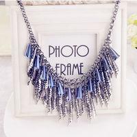 1 Piece Free Shipping 2014 New European Women Statement Necklace Vintage Alloy Metal Tassel Choker Necklace K187