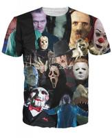 2014 New high quality Men's Short Sleeve Cotton T shirt Fashion Men/Women horror movie killer role Print 3D t shirt