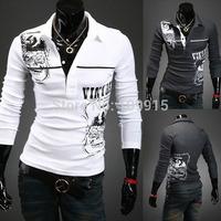 New arrivedMen Slim Knit Shirt Pullover Letter Print Long Sleeve Sweater Lapel Button Tops
