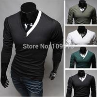 New arrivedMen Premium Long Sleeves Elasticity Slim Fit Stylish V-neck Warm Tops Base Shirt