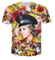 2014 New arrival high quality Men's Short Sleeve Cotton T shirt Fashion Men/Women Amanda Bynes Print 3D t shirt Free shipping