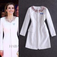 2014 Fashion Women Peacoat Long Trench Coat White Windbreaker Beading European Brand Women Dress Free Shipping WA2968
