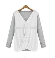 2014 European and American fashion big temperament knit chiffon blouse stitching irregular loose big yards ladies bottoming shir