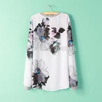 1677- European and American big 14 new autumn and winter women's round neck chiffon shirt Ink flower print shirt