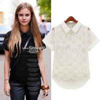 Autumn 2014 European Grand Prix Women organza lace chiffon short sleeve shirt loose women doll collar blouses