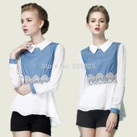 European Grand Prix 2014 Hitz doll collar long-sleeved chiffon shirt women stitching embroidered denim shirt