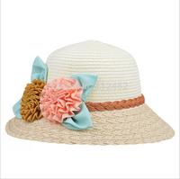 Fashion Women Wide Large Brim Floppy with flowers Beach Sun Straw Hat Cap Free Shipping