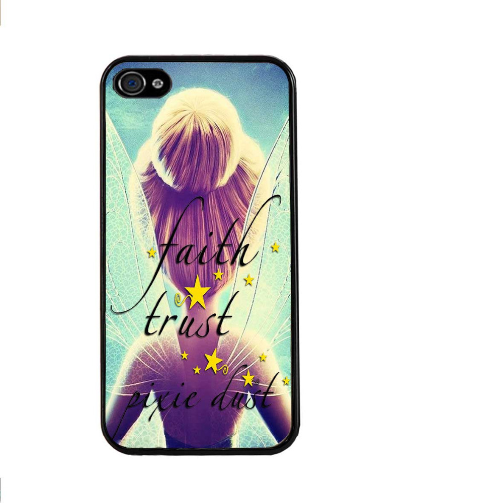 Tinker Bell Princess Pixie Dust Quote Peterpan Cell Phone Cases PVC Hard Back Case Cover for iPhone 4 4S(China (Mainland))