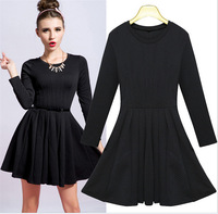 Newest Young Girls' Dresses in Autumn and Winter Day None Decoration Solid Knitting Jacqurd  Dresses